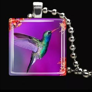Purple Hummingbird Glass and Silver Tile Necklace
